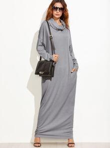 Grey Cowl Neck Drop Shoulder Maxi Dress With Pockets