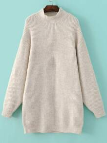 Beige Mock Neck Drop Shoulder Sweater Dress