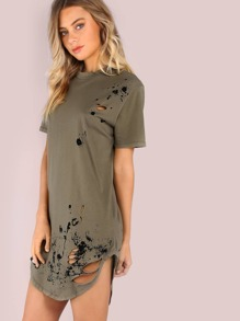 Distressed Splatter Short Sleeve Shirt Dress OLIVE