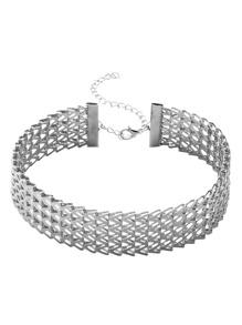 Silver Geo Structured Metal Minimalist Wide Choker