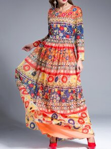 Multicolor Tribal Print Maxi Dress