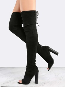 Black Suede Peep Toe Chunky Heel Over The Knee Boots
