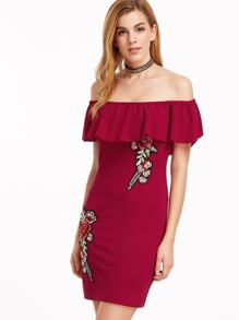 Burgundy Embroidered Flower Applique Off The Shoulder Ruffle Dress