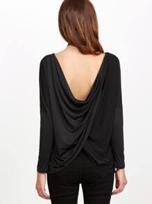 Black Drop Shoulder Twisted Back T-shirt