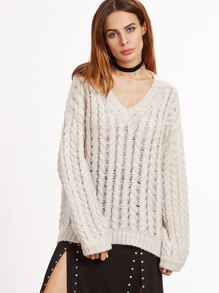 Apricot Cable Knit Oversized Eyelet Sweater