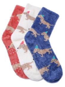 Multicolor Puppy Pattern Fluffy Thermal Socks Set