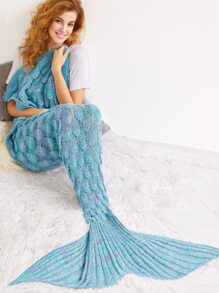 Light Blue Crocheted Fish Scale Design Mermaid Blanket
