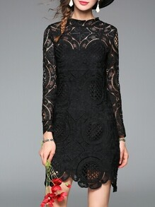 Black Crochet Hollow Out Dress
