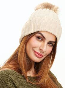 Beige Ribbed Pom Pom Knit Hat