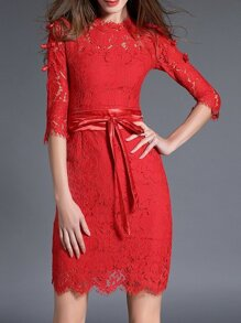 Red Tie-Waist Bowknot Lace Sheath Dress