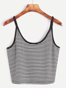 Black Striped Crop Cami Top