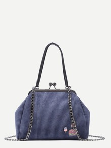 Dark Blue Corduroy Kisslock Shoulder Bag With Convertible Strap