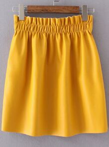 Yellow Elastic Waist PU Skirt