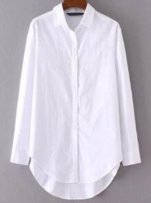 White Button Up Dip Hem Blouse