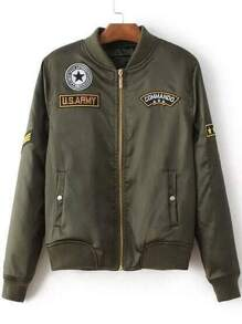 Army Green Patch Embroidery Flight Jacket