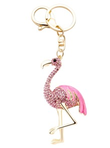Pink Flamingo Rhinestone Encrusted Keychain