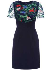 Navy Gauze Flowers Embroidered Sheath Dress