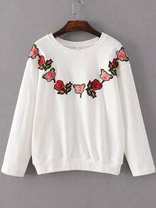 White Floral Embroidery Ribbed Trim  Sweatshirt