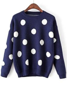 Navy Polka Dot Round Neck Sweater
