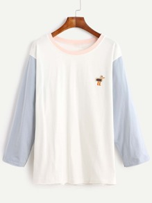 Contrast Sleeve Bird Embroidered T-shirt