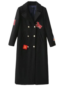 Black Patch Embroidery Double Breasted Long Coat