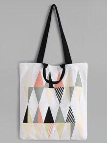 Diamond Pattern Canvas Tote Bag