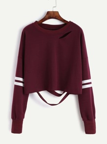 Drop Shoulder Varsity Striped Cutout Crop Sweatshirt