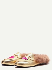 Gold Embroidered Fur Trim PU Loafer Slippers