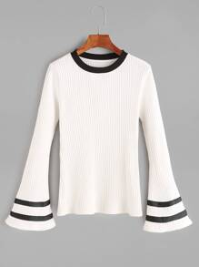 White Contrast Striped Bell Sleeve T-Shirt