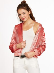 Pink Zip Up Shirred Velvet Bomber Jacket