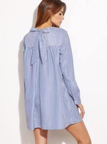 Blue Striped Tie Back Shift Shirt Dress
