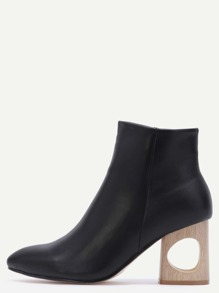 Faux Leather Point Toe Black Hole Heel Booties