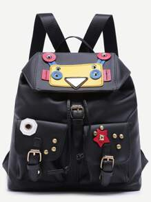 Wacky Robot Double Buckled Pocket Studded Nylon Backpack