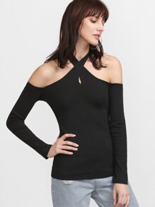 Black Crossover Halter Neck Slim Fit T-shirt
