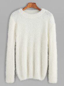 White Drop Shoulder Fuzzy Sweater