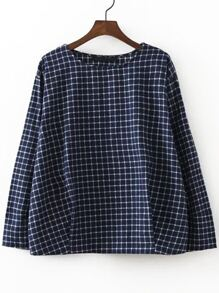 Navy Grid Letter Embroidery Blouse