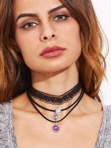 Black Lace Layered Purple Gemstone Pendant Choker Necklace