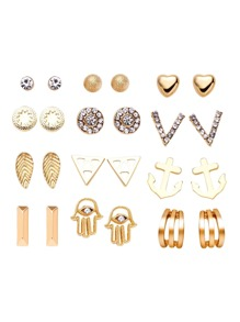Gold Plated Rhinestone Multi Shape Stud Earrings Set