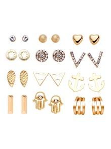 Gold Plated Rhinestone Multi Shape Stud Earrings Set