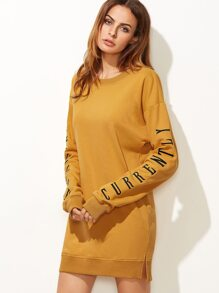 Mustard Letter Embroidered Drop Shoulder Slit Sweatshirt Dress