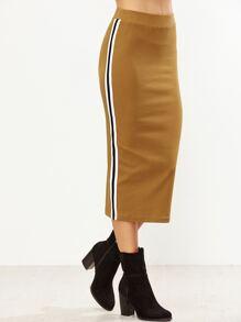 Mustard Side Striped Midi Pencil Skirt