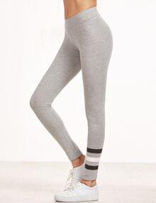 Heather Grey Striped Leggings