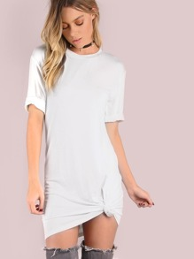 White Crushed Velvet Tee Dress