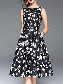 Black Bowknot Pockets Floral A-Line Dress