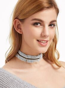 Blue Eyelash Fringe Tie-up Choker