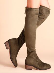Olive Green Suede Point Toe Cork Heel Knee Boots