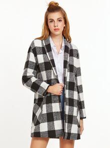 Black And White Checkered Shawl Collar Coat