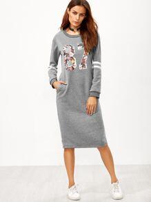 Grey Varsity Print Slit Back Zipper Sweatshirt Dress