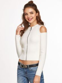 White Ribbed Knit Open Shoulder Zip Up Sweater