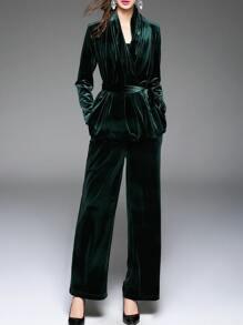 Dark Green Tie-Waist Velvet Top With Pants